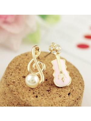 Dulce Música Nota Perla Guitarra Linda Diamante Asimétrico Aretes