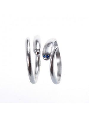 Original Sencillo Mosaico Zafiro ojos serpentina 925 Plata Apertura anillo