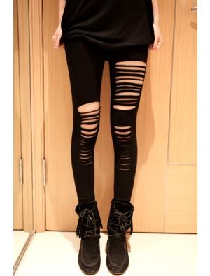 Sexy Black Cotton Hole Slim Leggings