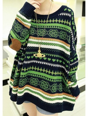 Vintage Folk Style Bat Sleeve Sweater &Cardigan