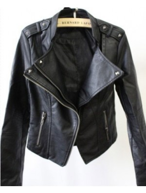 Fashion Black Slim Leather Rivet Jacket
