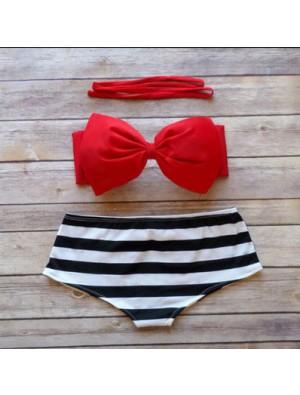 Traje de baño de playa de cintura alta a rayas blanco y negro de Boknow