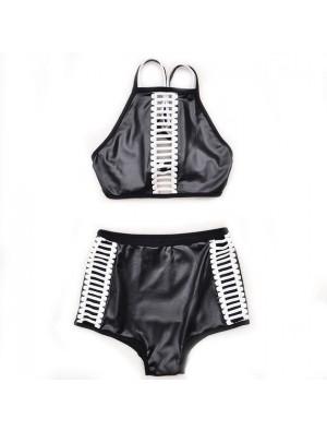 Moda negro cintura baja vendaje Bikini Set traje de baño traje de baño traje de baño