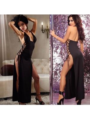 Sexy Lado Negro Atado Vestido Largo Mujer Lencería