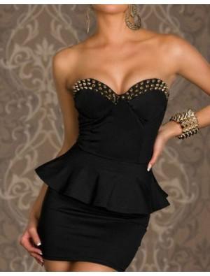 Unique Cool Black Rivet Tee Dress&Party Dress