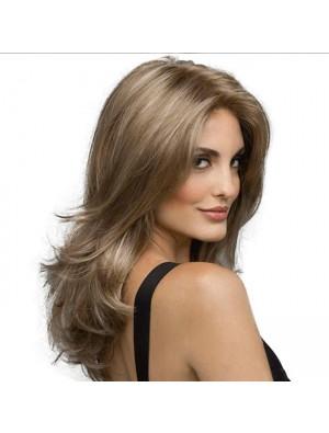 New Wave Gradient Peluca de cabello castaño Peluca de cabello medio largo para dama
