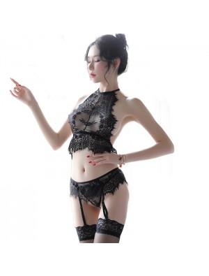 Encaje de pestañas sexy Empalme Negro Perspectiva Conjunto de sujetador, lencería para mujer