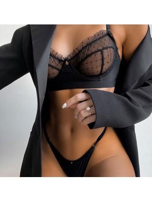 Conjunto de sujetador de perspectiva de malla de encaje sexy Ropa interior de honda Lencería de mujer íntima