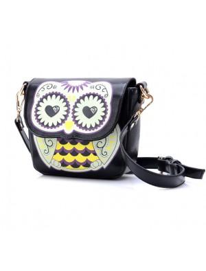 Cartoon Owl Floral Print Shoulder Bag