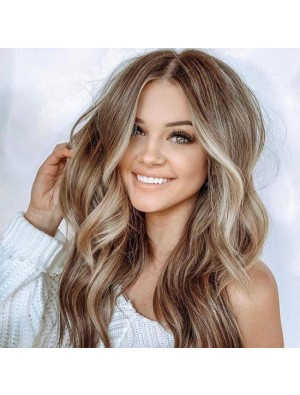 Moda marrón grande ondulado largo rizado mujer peluca