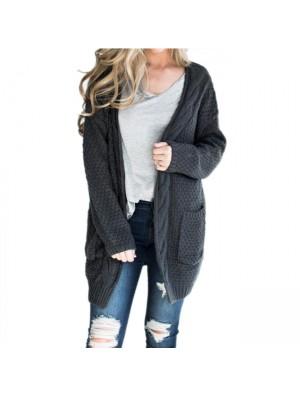 Ocio Mediano Largo Grande Señoras Twist Knit Knit Cardigan Suéter de mujer