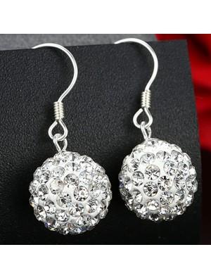 Moda blanco brillante Diamante bola plata mujer Pendientes