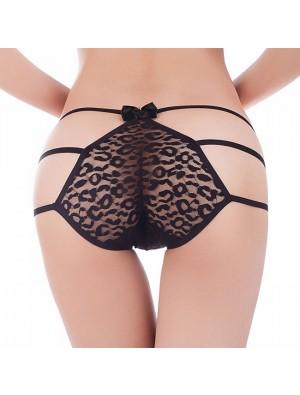 Sexy arco negro pantalones de encaje ropa interior íntima mujer