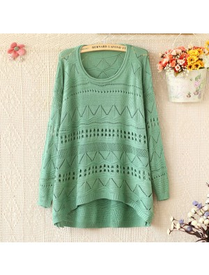 Fresh Loose Crimping Neck Long sleeve Hollow Sweaters