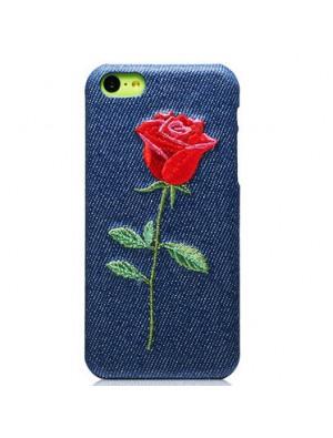 Bordado moda flor vaquero vaquero Iphone 5C Fundas