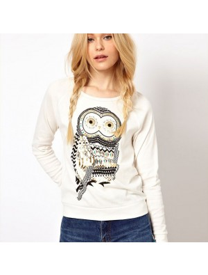 Fashion Rhinestone Owl Printed Sleeve Sweater