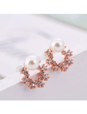 Pendientes de plata de la perla redonda de la flor cristalina de la piedra preciosa de la moda