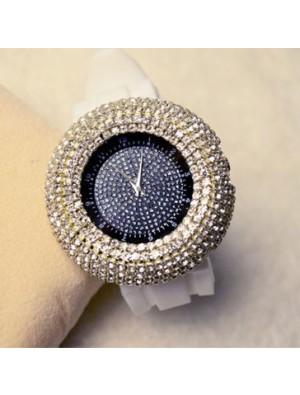 Moda gran dial reloj de cuarzo rhinestone