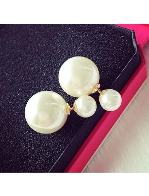 Moda puro blanco perla chica pendiente doble perla pendiente tachuelas