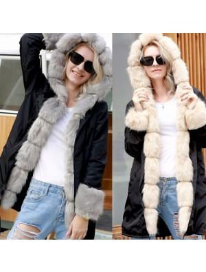 Punk Fluff cálido abrigo largo con capucha de piel chaqueta de manga larga chaqueta de las mujeres