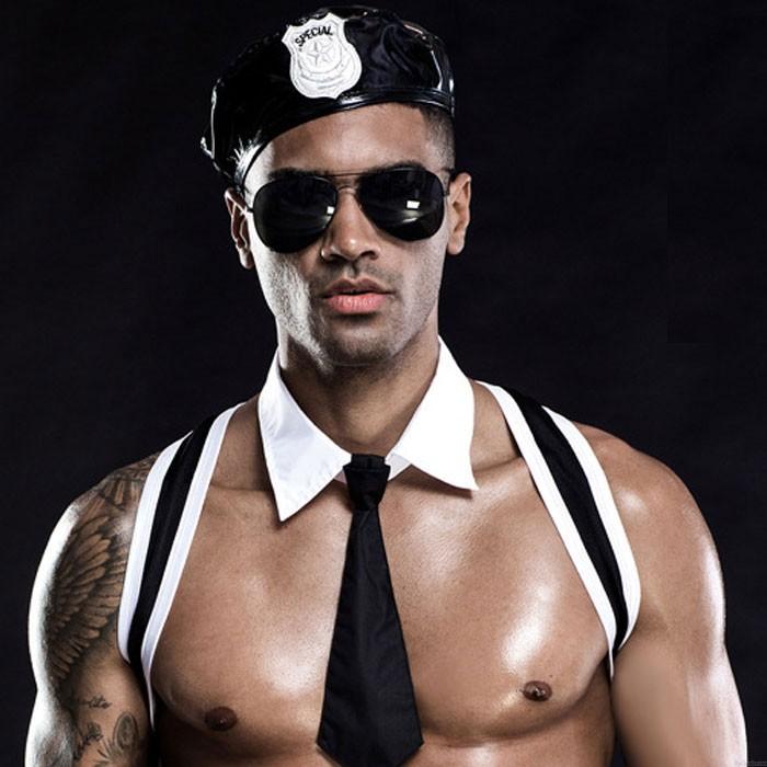 Sexy uniforme soldat Cosplay culotte cravate Cool noir discothèque tentation hommes Lingerie