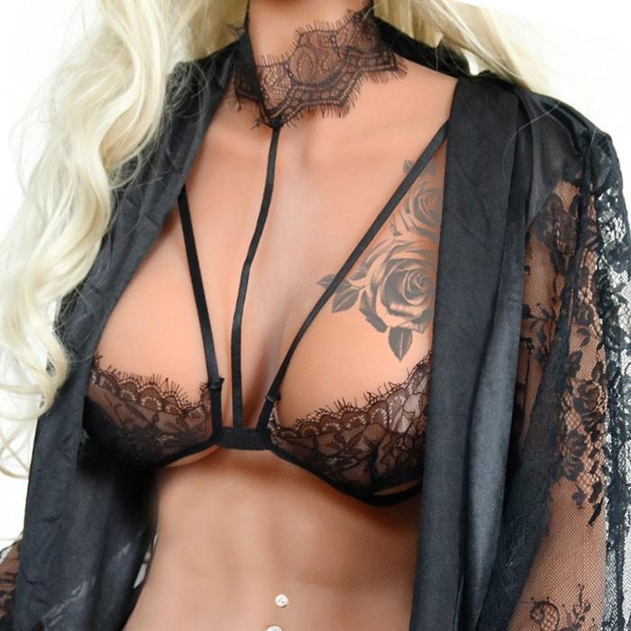 Sexy camisola hueca sujetadores con cuello colgante Lencería de mujer de encaje negro
