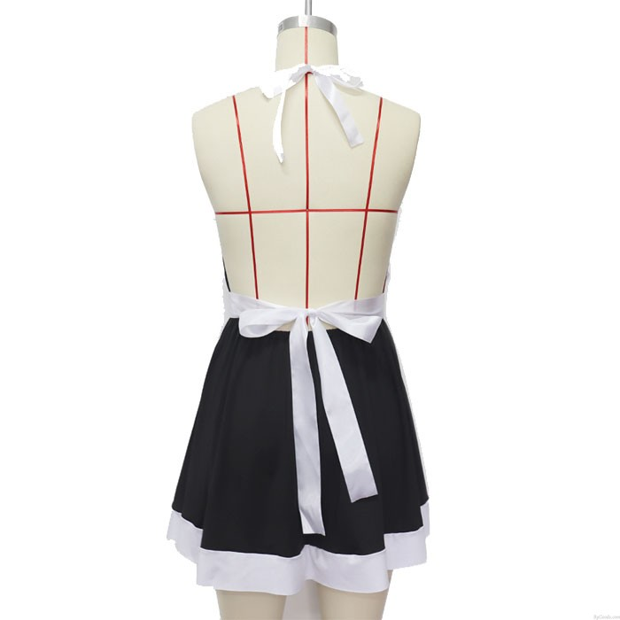 Sexy Arco Maid Uniformes Vestido Sin Espalda Adolescente Negro Caliente Encaje Cosplay Niñas Lencería