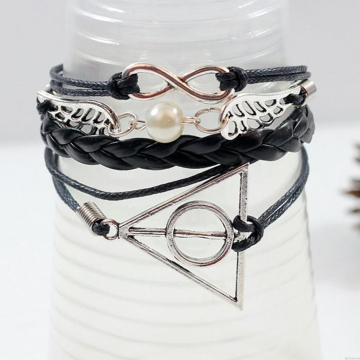 Cute Wings Deathly Hallows Infinity Bracelet