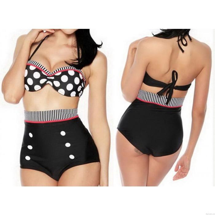 Delgada cintura alta de puntos de baño bikini
