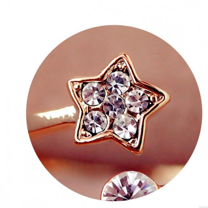 Fresco Linda Diamante Estrella Apertura anillo