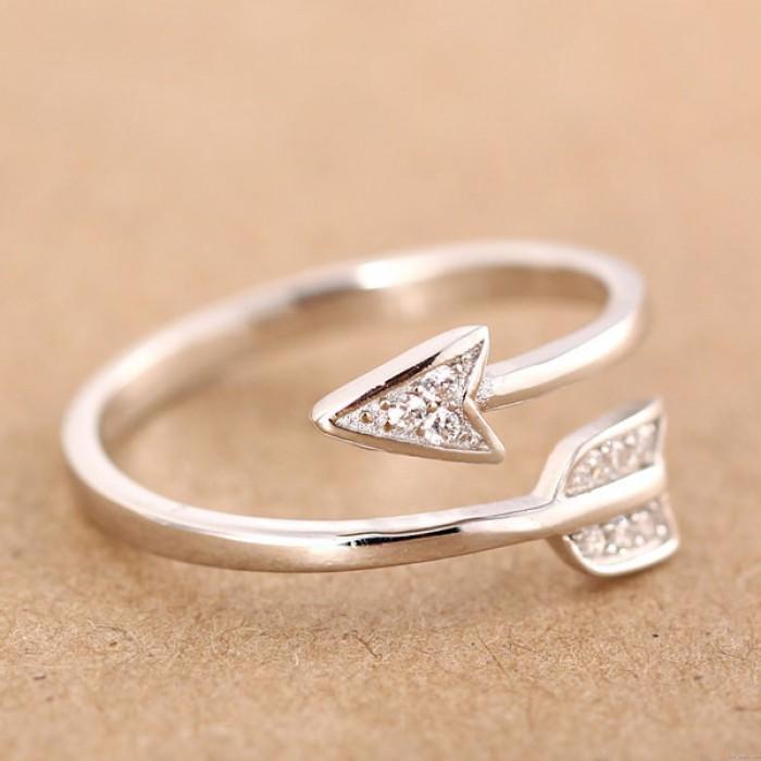925 Libra esterlina Plata Cupido Flecha Par Apertura anillo