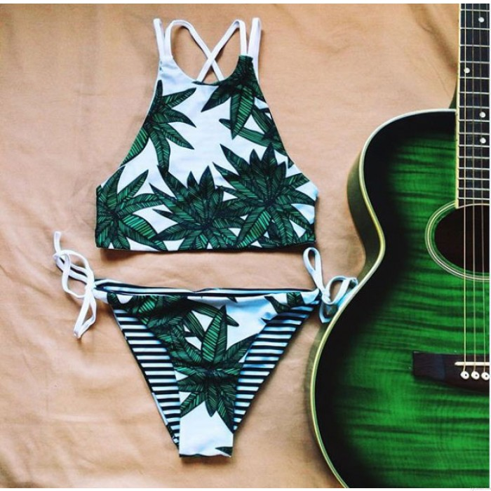 Traje de baño atractivo del traje de baño de la hoja de arce del bikini verde del bikiní