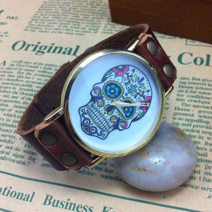 Cráneo único impresión retro reloj punk