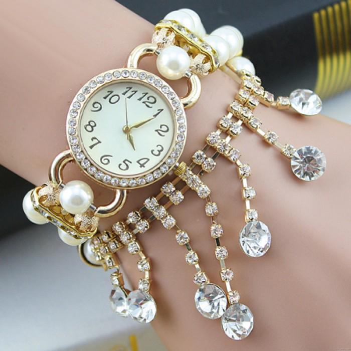 Bonito reloj de pulsera borla de cadena de diamantes con cuentas de perlas