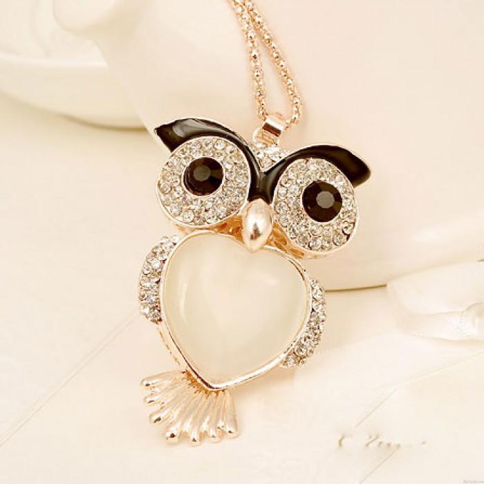 Collar de diamantes de imitación de Flash Owl Heart Opal