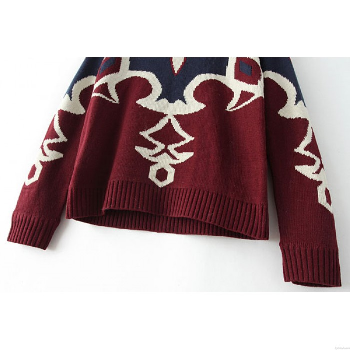 Suéter de mujer de punto con estampado étnico indio casual