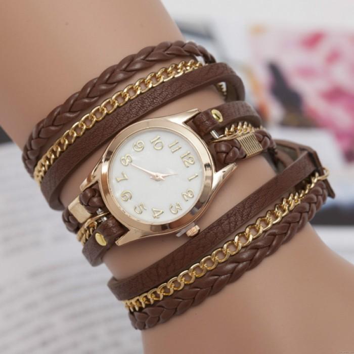 Reloj de pulsera trenzado de cuero de cadena de metal de moda de tres vueltas