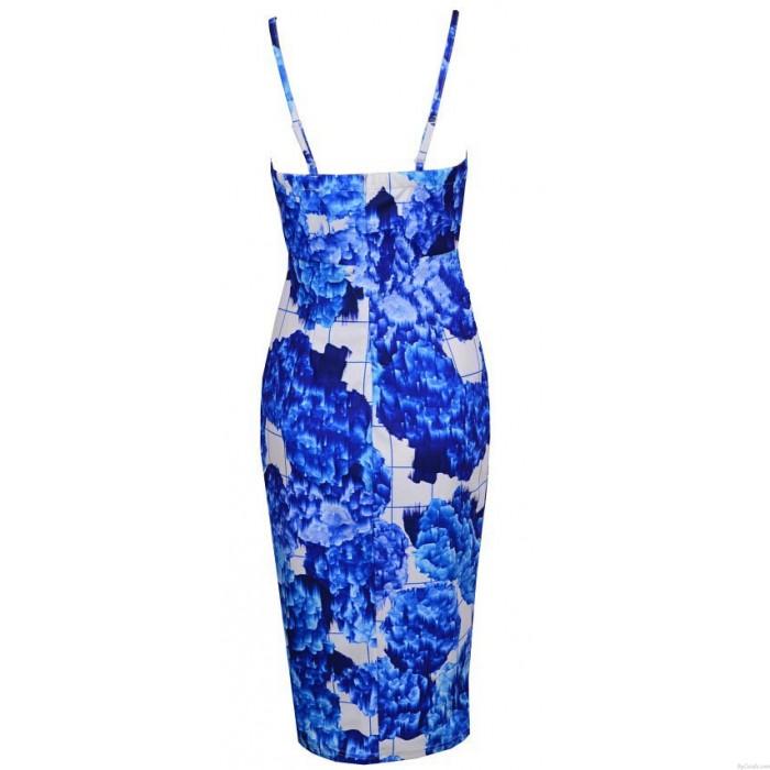 Vestido azul estampado floral de la nueva manera V profunda atractiva