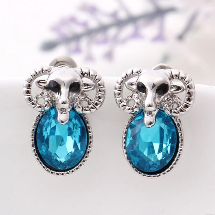 Linda Oveja Animal Diamante de imitación Oreja Studs / Aretes