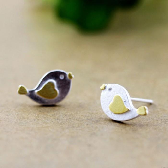 Encantador Corazón Pájaro Plata Semental Aretes