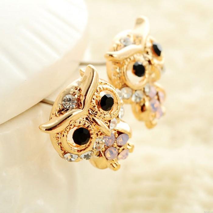 Refinado Diamante Linda Bebé Owl 18K Chapado en oro Moda Aretes
