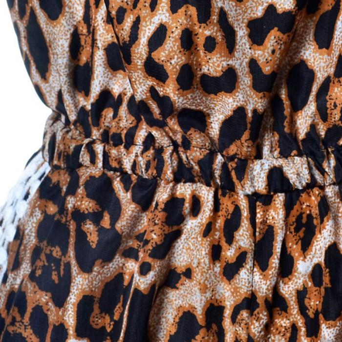 Tirantes Leopardo Cordón Cuello en V Uno Pieza Mameluco y mono