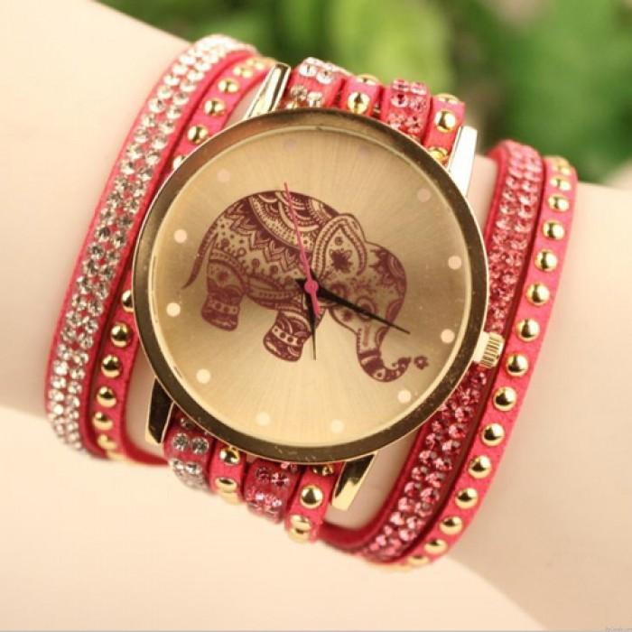Hollow Elephant Pattern Diamond Rivet correa de cuero reloj pulsera