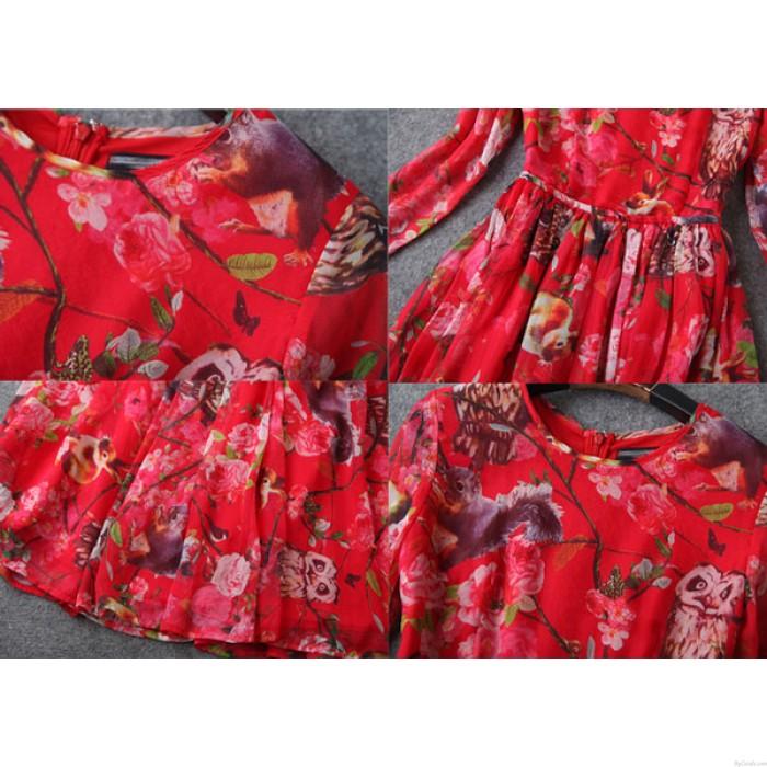 Nuevo vestido largo de impresión de búho de gama alta
