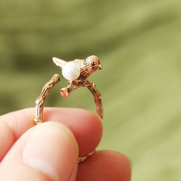 Vendimia Pájaro Perla Apertura Animal Envolver anillo