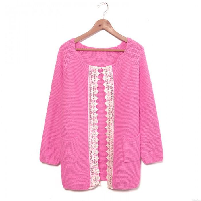 Fashion Lace Weave Rose Sleeve Sweater &Cardigan