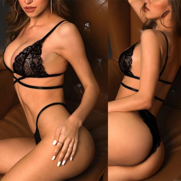 Sexy Cruzar Negro Honda Ropa interior Pantalon Cordón Sostén Conjunto Lencería íntima de las mujeres