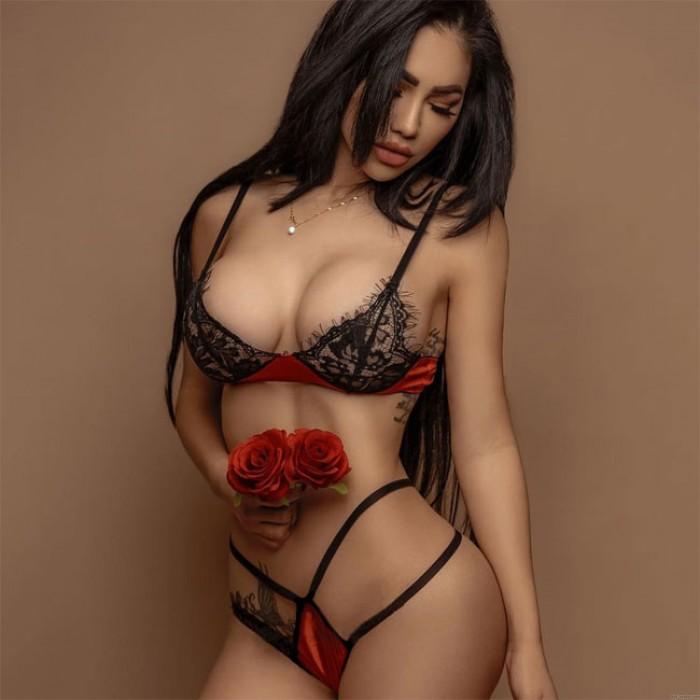 Conjunto de sujetador de encaje negro con hojas de empalme rojo sexy Lencería íntima
