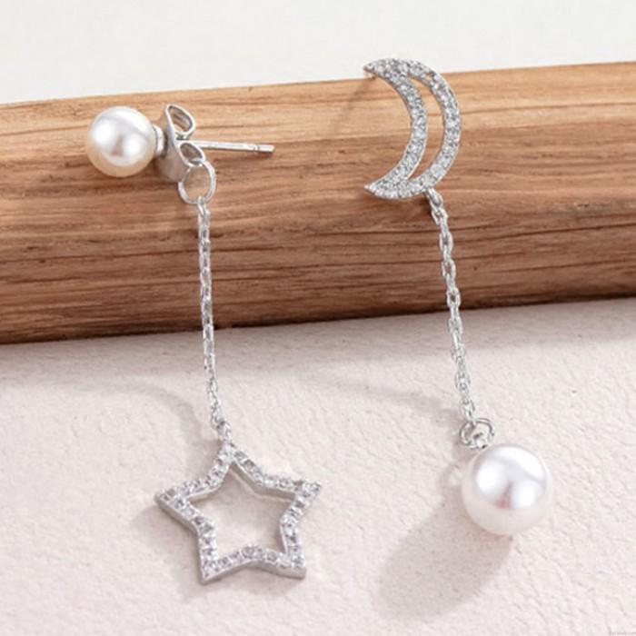 Elegante Plata Luna Estrella Oído Asimétrica Perla Pendientes Semental