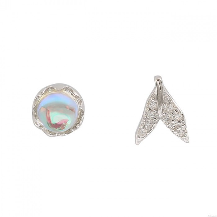 Única cola de sirena Tear Crystal Silver Gotitas de agua Pendientes Mujer Studs